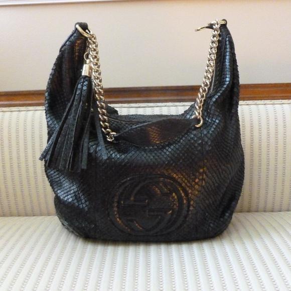 Gucci Handbags - Gucci Soho Chain Python Hobo Shoulder Bag